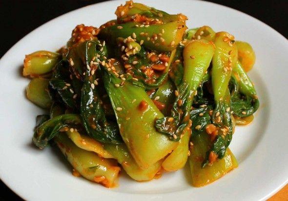 Korean Bok Choy muchim (Bok Choy seasoned with soybean paste)