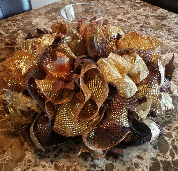 Centerpiece brown gold centerpiece deco by WonderfulWreathsKim, $45.00
