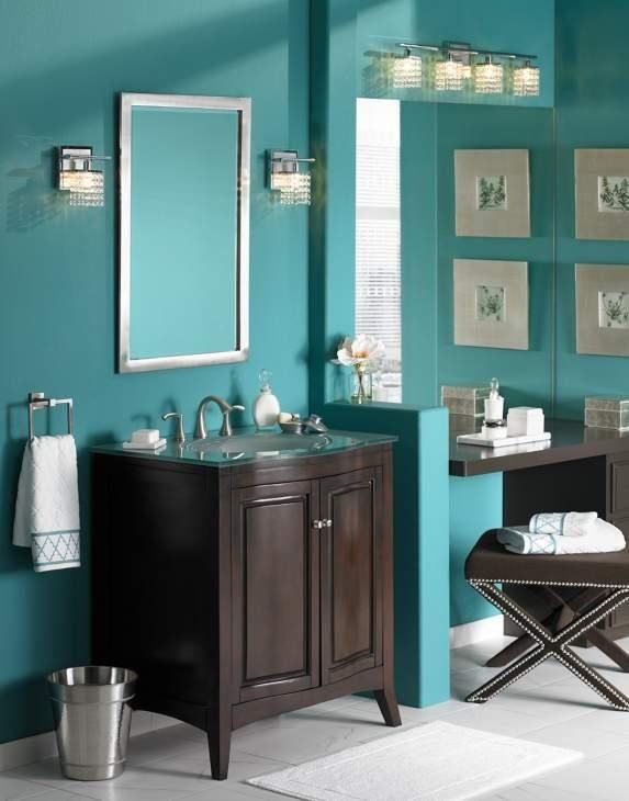Turquoise bathroom will i need to paint my cabinets for Bathroom decor green and brown
