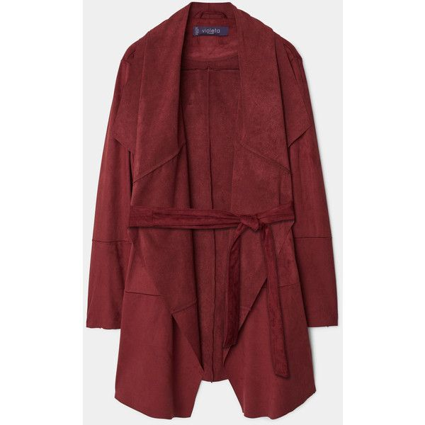 Violeta BY MANGO Waterfall Faux Suede Jacket (10.180 RUB) ❤ liked on Polyvore featuring outerwear, jackets, red jacket, mango jacket, faux suede jacket, waterfall jacket and long sleeve jacket