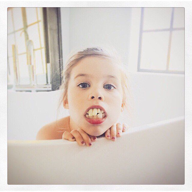 Pin for Later: Alyssa, Jaime, and Jessica Shared Sweet Photos of Their Kiddos This Week!  Looks like Harper found some old Halloween teeth and decided to give mama Tiffani Thiessen a scare!