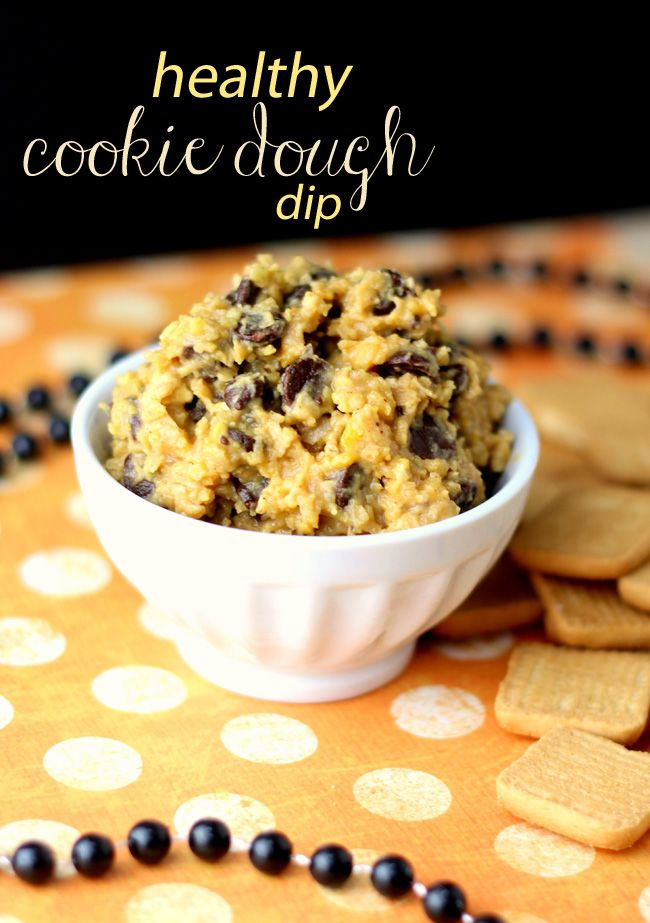 Healthy Cookie Dough Dip.       1½ cups chickpeas or white beans     ¼ cup almond butter     ⅛ cup milk (this is optional for creaminess)     ⅛ tsp of salt     ⅛ tsp baking soda     2 tsp vanilla extract     ¼-1/2 cup chocolate chips (depending on preference)     2 tbsp of rolled oats (optional and will make dip thicker)     ½ cup brown sugar