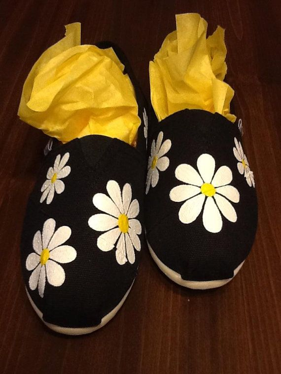 Hand painted daisy canvas slip on shoes