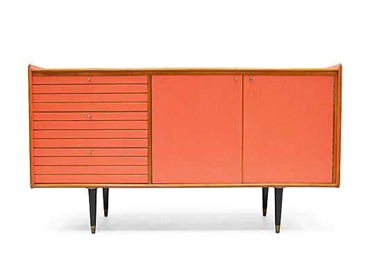 1950's pink lacquered sideboard.