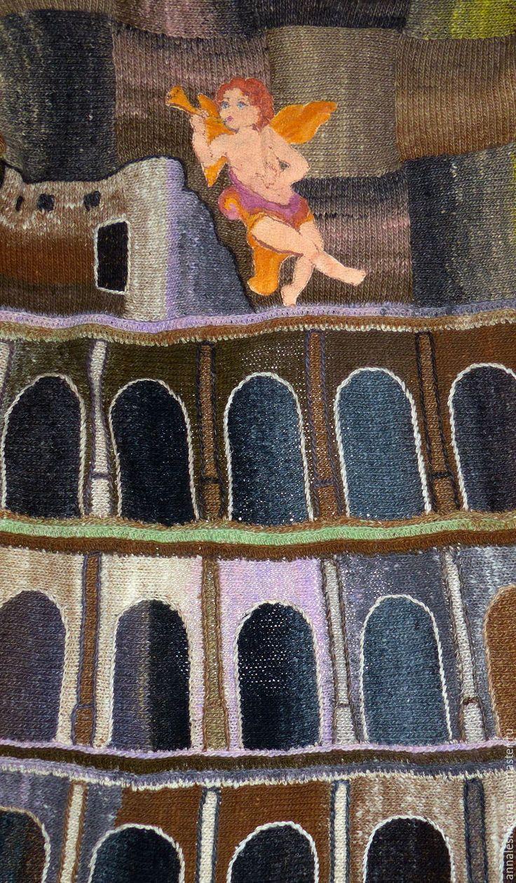 """Купить Пальто ручной работы """"КОЛИЗЕЙ-2"""" пряжа Норо - бежевый, рисунок, Анна Лесникова"""