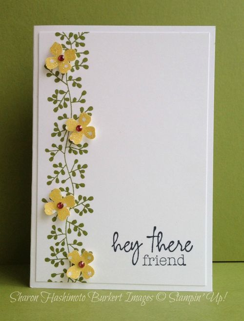 handmade greeting card: Bordering Blooms ... clean and simple layout design ... vertically stamped vine .. stamped and die cut flowers on top ... sentiment .. like it!