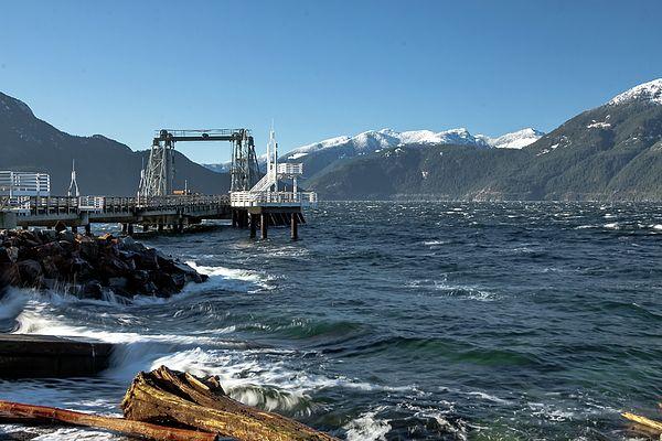 Sea Photograph -  Pier In The  Bay by Alex Lyubar    #AlexLyubarFineArtPhotography VancouverCanada #PorteauCoveProvincialPark #SeaMountain #AptForHome #FineArtPrint