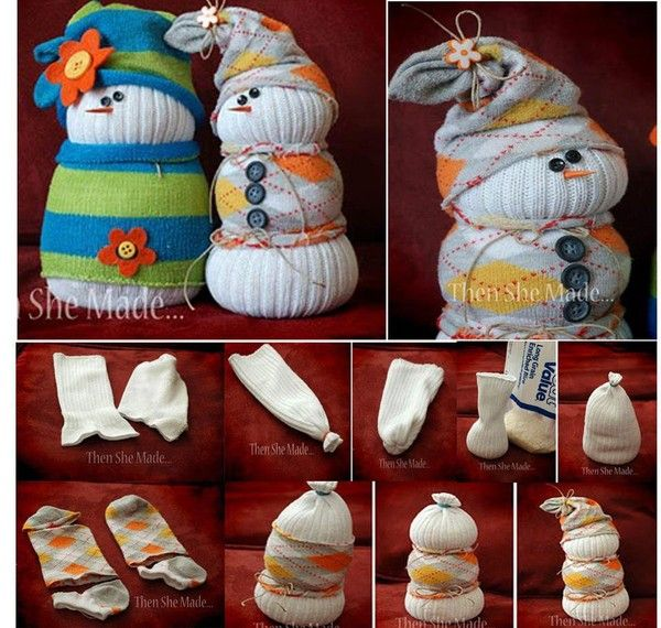 sock snowmen - brilliant way to use all those socks with holes in the toes!