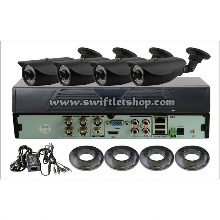 AHD Kit 1, 720P, 4 Camera 720P Bullet (Harddisk No Include)  Paket terdiri dari:   1 Pcs AH DVR 4 Channel  4 Pcs Bullet 720P 4mm AHD camera  4 Pcs 18.3M Power/video Cable  1 Pcs DC12V/4A power supply splitter cable
