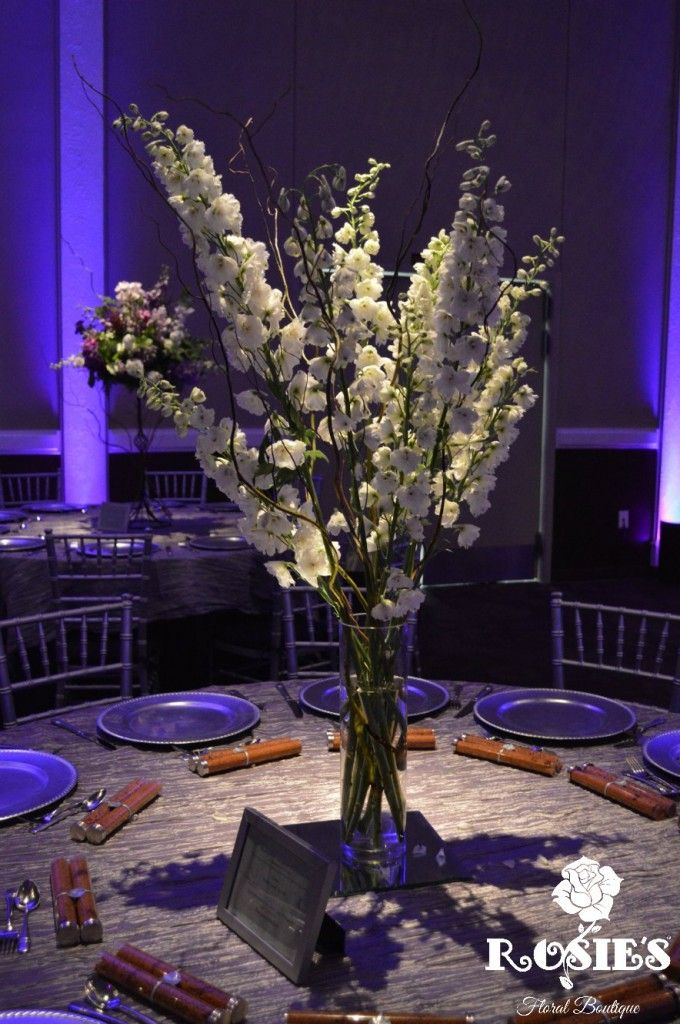 Tall Wedding Centerpiece Made With White Delphinium And Curly Willow Photography Florals By Rosies