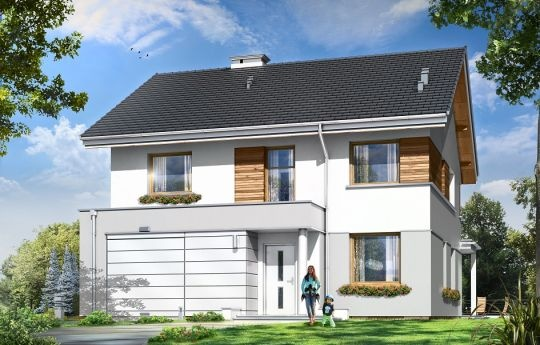 Projekt Miranda to nieduży piętrowy dom dla czteroosobowej rodziny. Budynek charakteryzuje się zwartą, prostą w budowie bryłą i nowoczesną architekturą. Dom stworzono na planie kwadratu, przekryto go dwuspadowym dachem. Lekko wystający garaż z podcieniem wejściowym, zadaszenie nad tarasem ogrodowym, okładziny naścienne wokół okien - wszystkie te elementy urozmaicają sylwetkę nadając jej atrakcyjny wygląd.