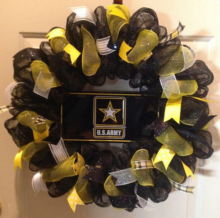 "US Army Wreath Deco Mesh 27"" Wall Door Hanger Decoration Metal Plate Black Yellow Star military birthday anniversary Handmade New by SportsNutz on Etsy"