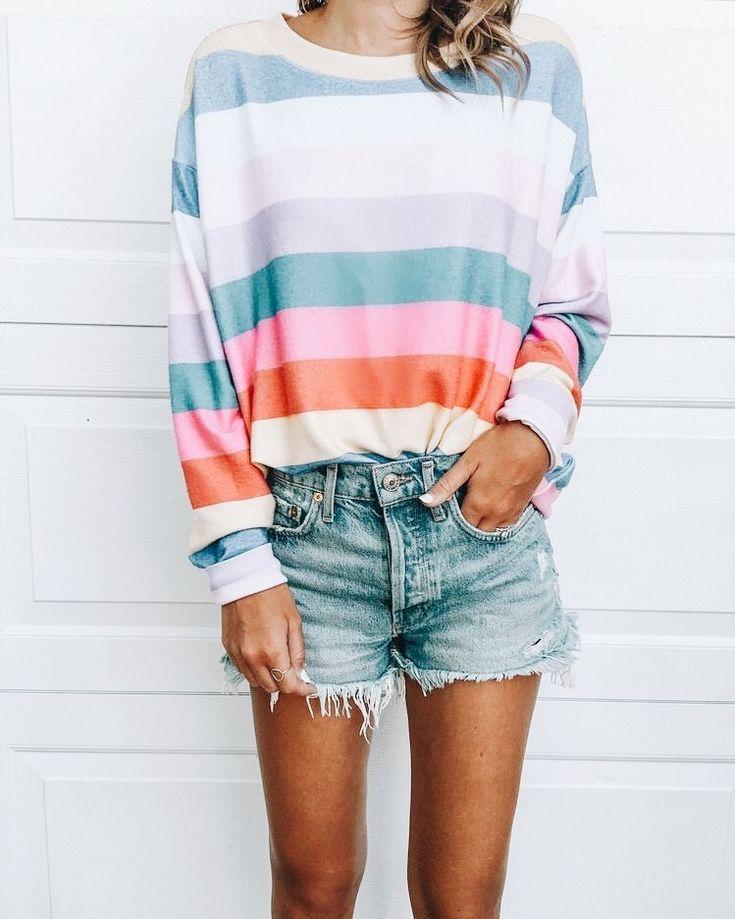 dea9ef61 Pretty pastel spring colors striped sweater and denim cutoffs shorts ...