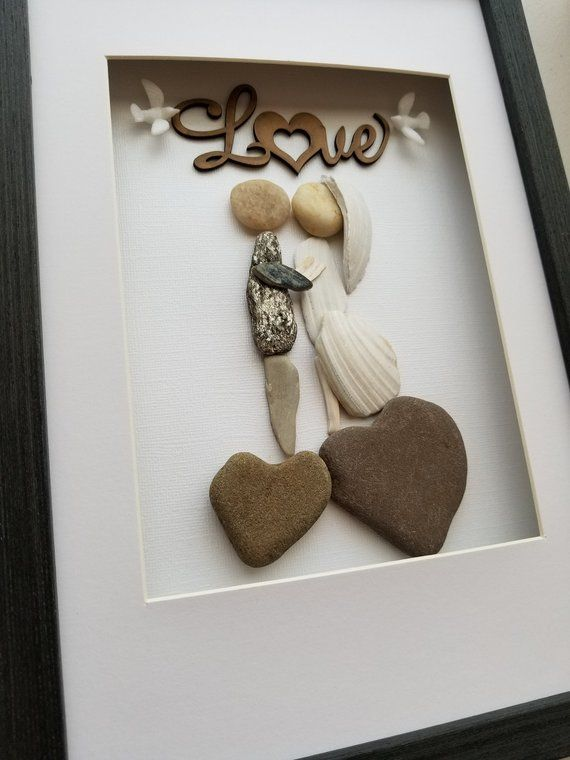 Pebble art Unique Love Gift Heart shaped rocks Beach Wedding Gift Beach Finds For couple Surfer Love Gift Unusual Engagement Gift