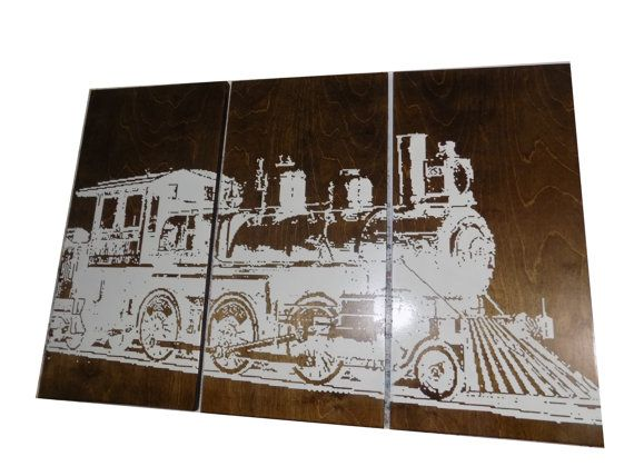 Vintage Rustic TRAIN Wall Art- TRANSPORTATION Art  -  Home Decor Screen Print  - Wood Painting - Wall Art on Stained Solid BIRCH