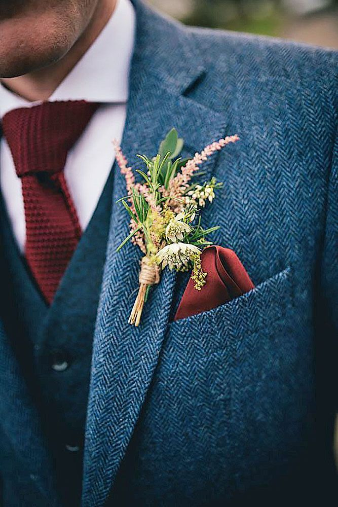 groom's attire- autumn boutonnieres fall wedding inspiration