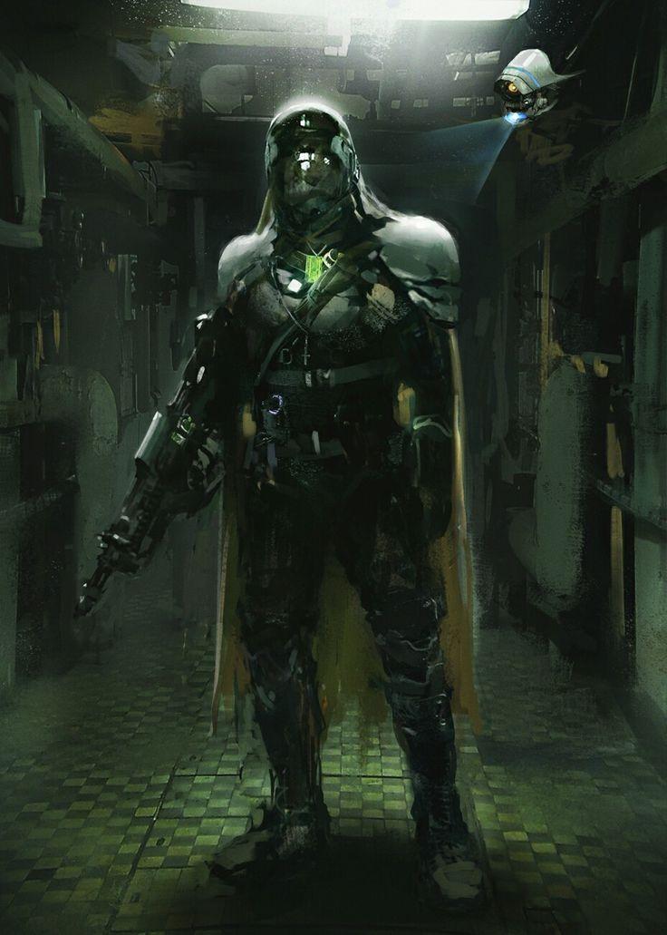 Future soldier #conceptart #scifi #future #soldier #drone #helmet #gun #character #illustration