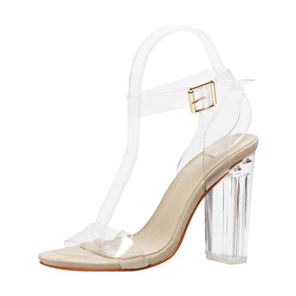 Transparent Plastic Clear Heel Ankle Strap Sandals ($36) ❤ liked on Polyvore featuring shoes, sandals, ankle tie sandals, clear heel shoes, plastic shoes, transparent shoes and clear heel sandals