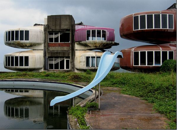 The Abandoned Sanzhi UFO Houses  These colorful flying saucer-style buildings, located in the Sanzhi district of New Taipei City in Taiwan, were built in 1978 but were forsaken before anyone ever stayed in them.