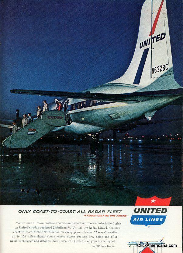 United Airlines vintage ad 1958