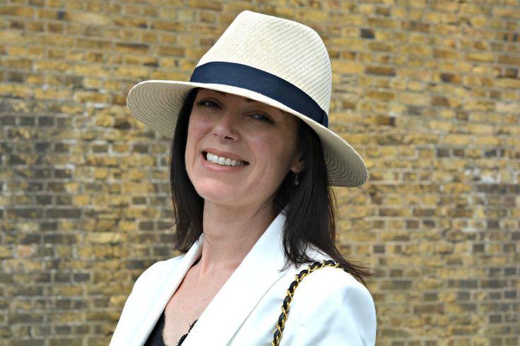 Marks and Spencer White Blazer gold button detail - White top Style Challenge Fashion over 40 Marks and Spencer White Blazer and Panama Hat with Whilstles denim shorts Chanel vintage 2.55 mini