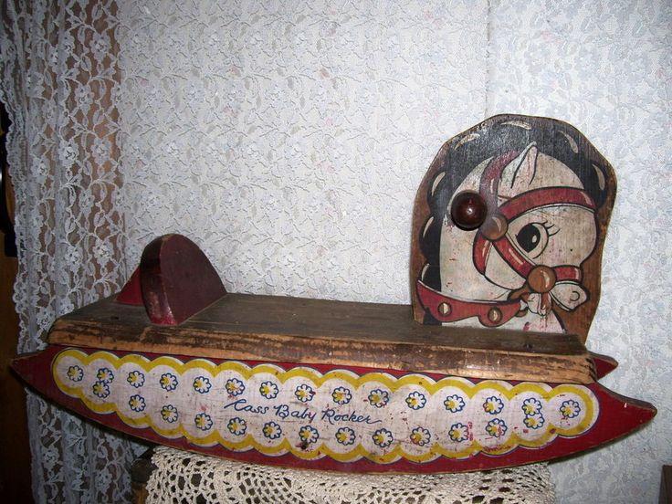 Antique Child S Wood Rocking Horse Cass Baby Rocker Sturdy Antique