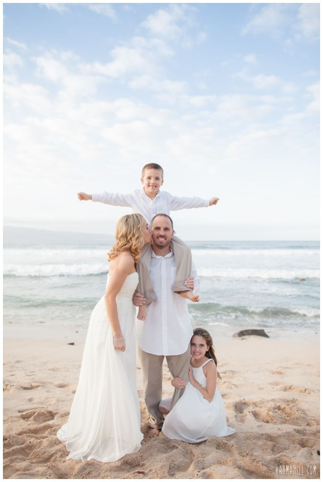A family portrait at a beach Vow Renewal! Wedding portraits with Kids, Ring bearer & flower girl, children in wedding Pictures, Hawaii Vow Renewal Packages at Vow Renewals Maui
