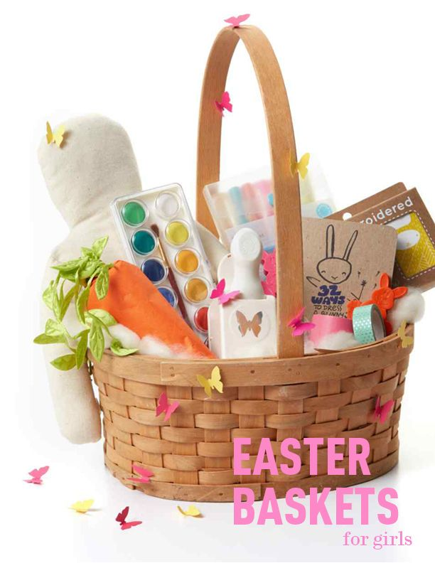 11 Creative and Colorful Easter Basket Ideas for Girls | Martha Stewart Living - Girls like to dream big, think outside the box, and color outside the lines (and sometimes on the walls, but that's a different story). This Easter, tap into her creativity by curating a basket that's filled to the brim with toys and art kits she will positively gush over.