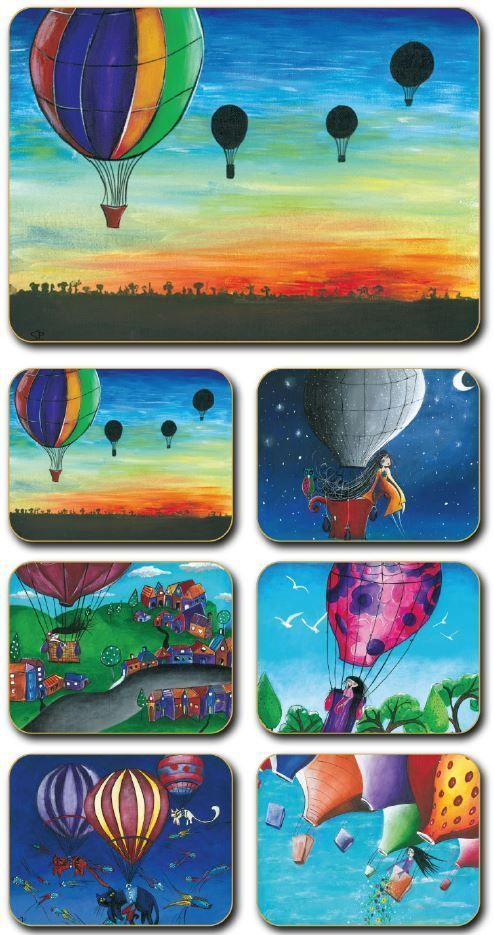 Hot Air Balloons  Cork Backed Placemats by Sharon Peterkin - Set of 6 *NEW*