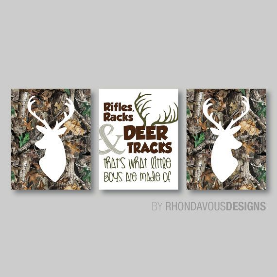 RealTree Camo Deer Head Print Trio - Real Tree Camouflage Antlers Buck Hunting Boy Kid Child Nursery - You Pick the Size & Colors (NS-303) on Etsy, $20.00