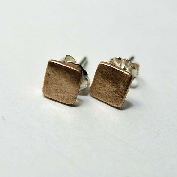 Bronze square post earrings by tiffanycoley on Etsy, $24.00