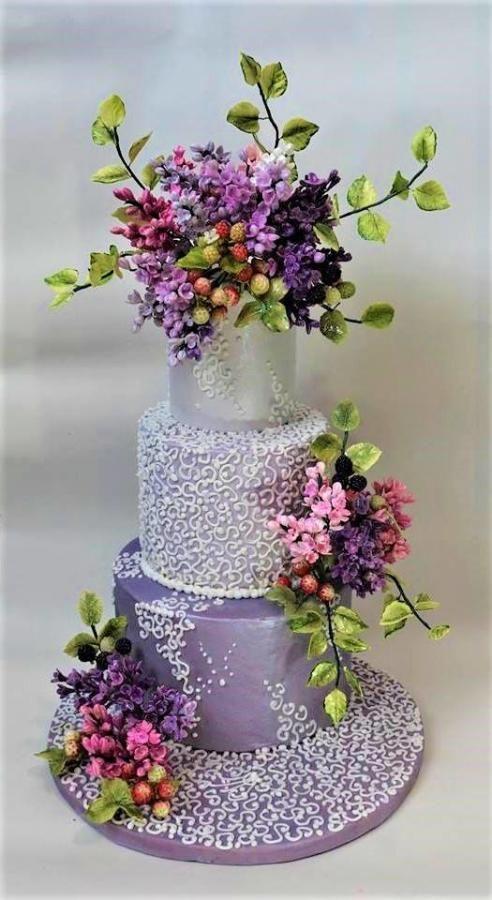 Lilac cake by WorldOfIrena - http://cakesdecor.com/cakes/279357-lilac-cake