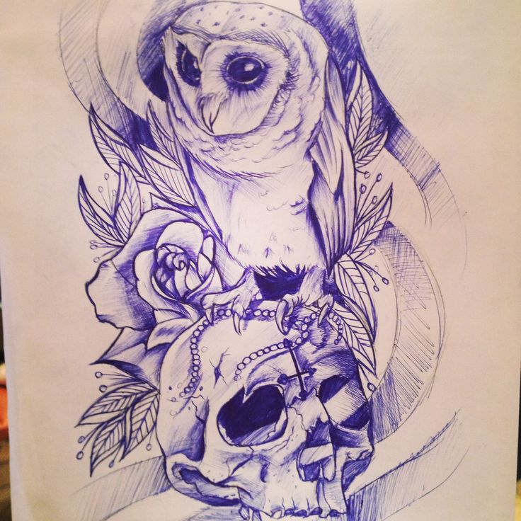 Most of the owl and skull tattoos look the same but this ones different :3