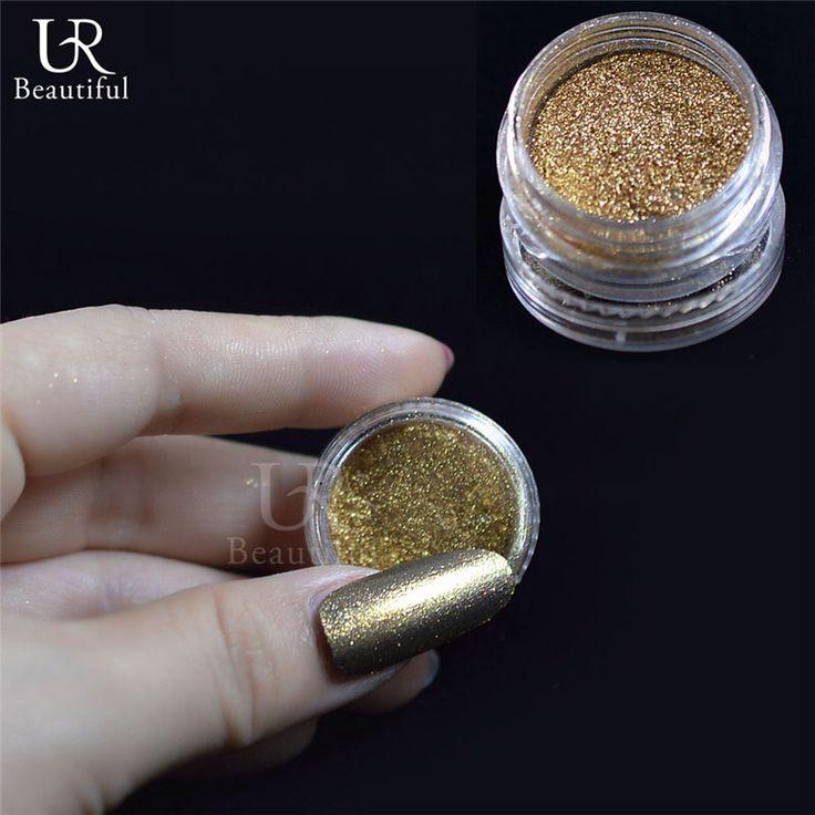 1g Dark Gold Spiegel Chroom Effect Nail Glitter Poeder Stof Nail Polish Glitter Stralende Pigment met 1 Borstel Gereedschap Nail Art #10