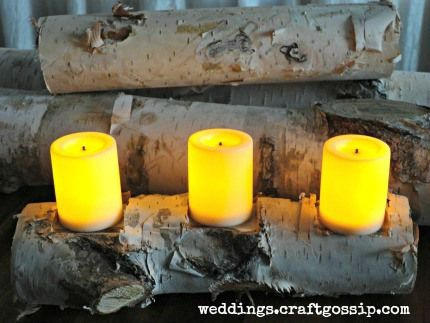 Creating a birch candle holder is an easy #DIY project that you can use for #holiday get togethers year round!  http://weddings.craftgossip.com/win-the-dremel-multi-max-mm30/