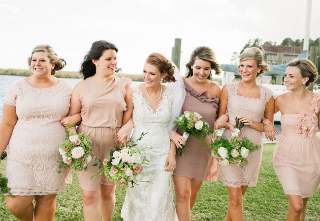 Neutral Mismatched Bridesmaid Dresses | Faith Teasley Photography | Blog.TheKnot.com