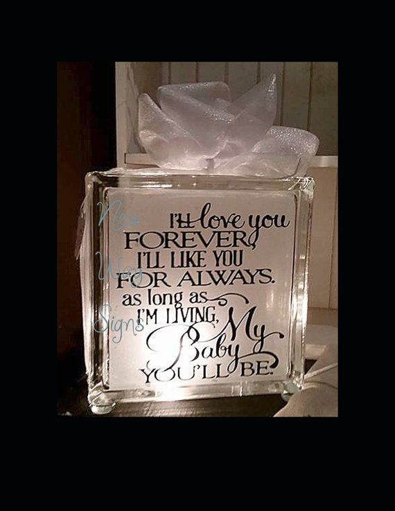 I Ll Love You Forever Glass Block Baby Glass Block
