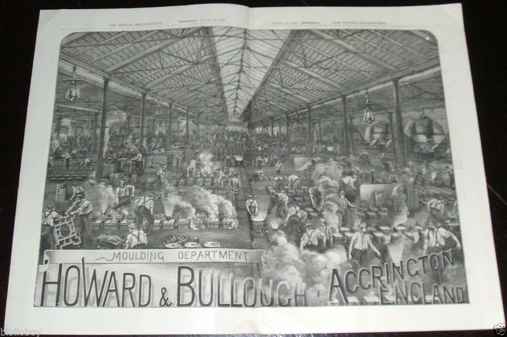 1887 Engraved Illustrated Double Page Ad Factory View Howard & Bullough