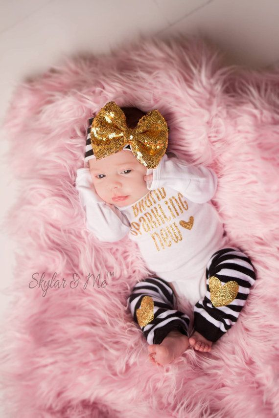 BABY GIRL take home outfit Newborn outfit Gold by SkylarnMe