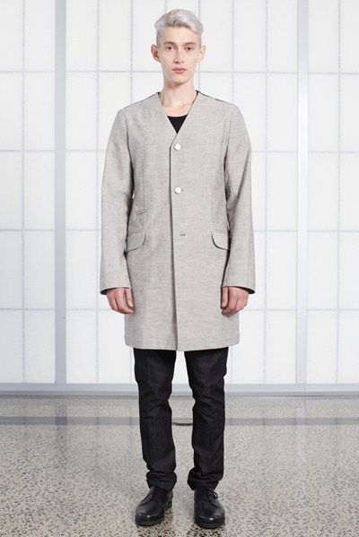 s/s 13/14 mens key looks - M09. collarless coat in canvas, the knife trouser in indigo.