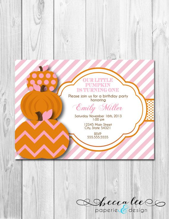 Little Pumpkin Birthday Party Invitation - Pink and Orange - DIY - Printable on Etsy, $14.00