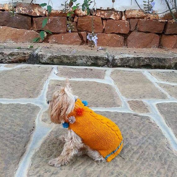 Turtleneck Dog Jumper /Pom Pom Cable-Knit Pet by CasaLunaCo