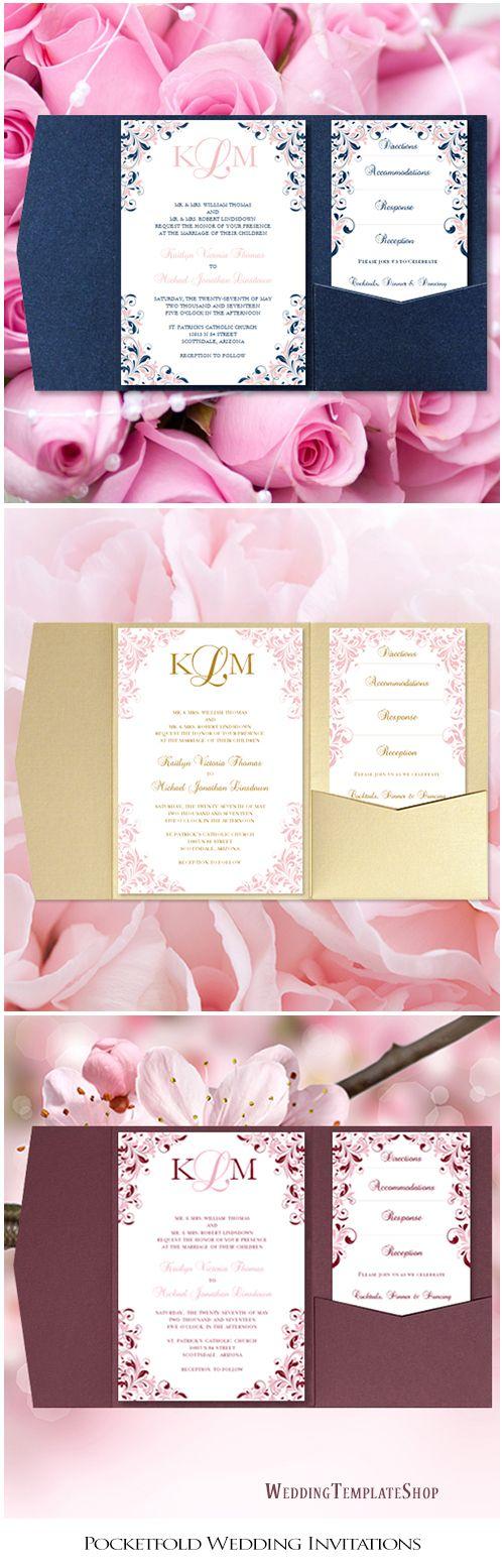 Pocket Fold Wedding Invitations Kaitlyn Blush Pink