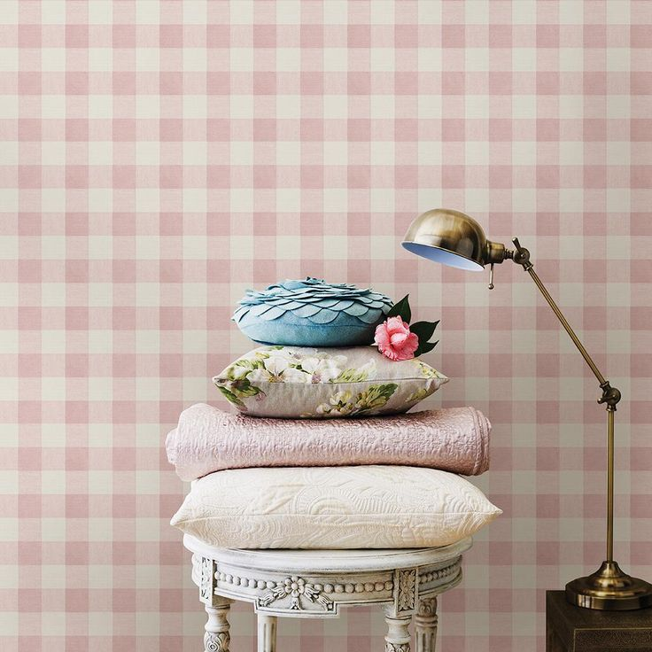 8 in. x 10 in. Claire Pink Gingham Wallpaper Sample