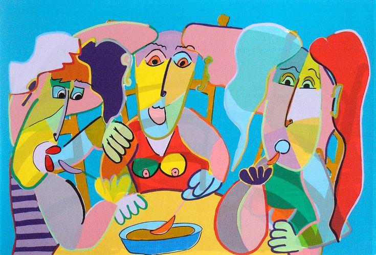 Twan de Vos - De aardappeleters 2 - zeefdruk. 70 x 90 cm.  Aardappel etende familie geïnspireerd op de Aardappeleters van Van Gogh.