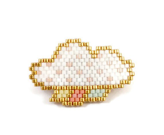 PIN cloud white and Golden beads Miyuki by Liliazalee on Etsy