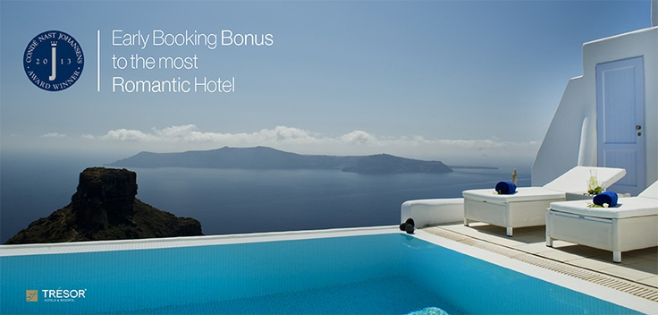 If you could be instantly transported anywhere in the world right now, where would you go? You now have the chance to book in advance to Astra Santorini, the Most Romantic Hotel, according to Conde Nast Johansens.Situated in Imerovigli, it seems like it is hanging from the cliffs.