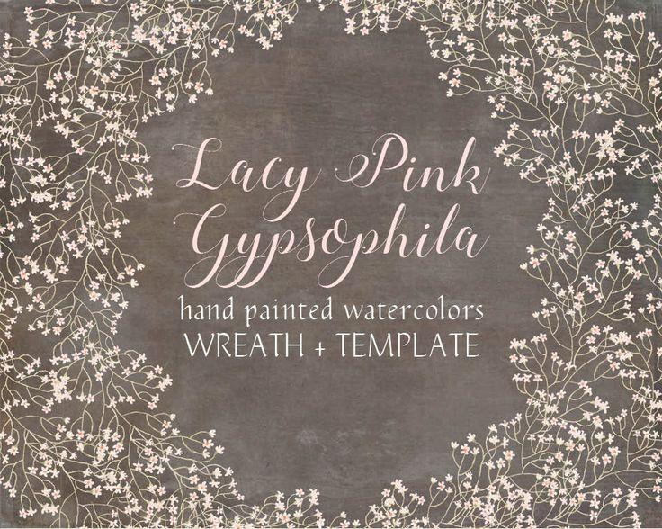 Watercolor wreath of pink Gypsophila; wedding clip art; weddings; hand painted flowers; watercolor clip art - instant download by LollysLaneShoppe on Etsy