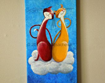 """Original Cat Painting for Sale : Fantasy Cats  """"Two Cats on Cloud Nine"""", acrylics on canvas"""