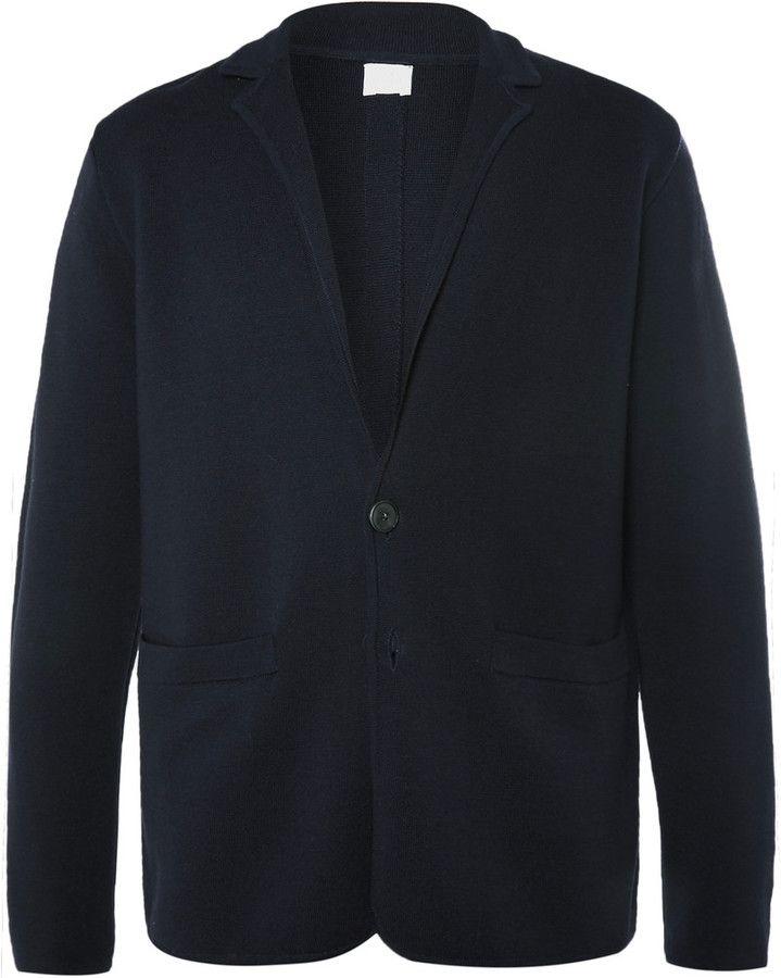 Sunspel Blue Milano Merino Wool Blazer